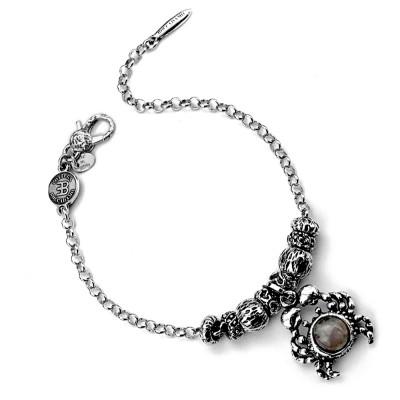 Modular bracelet with crab and rose quartz