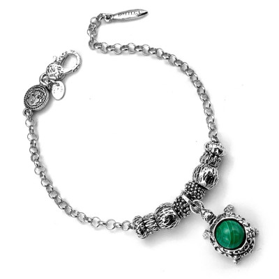 Modular bracelet with turtle and malachite