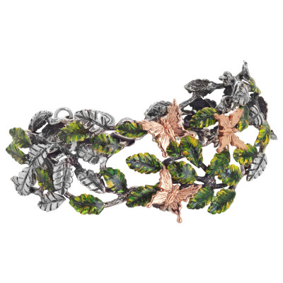 Semi-rigid bracelet in burnished silver with decoration of painted olive leaves and pink butterflies