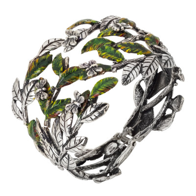 Rigid band bracelet in burnished silver with painted olive leaves and butterflies