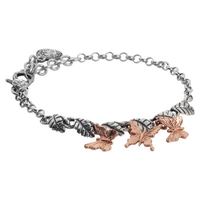 Bracelet in burnished silver with central olive leaves and pink butterflies