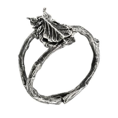 Rigid bracelet with leaf in burnished silver