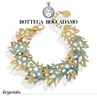 Yellow gold plated coral bracelet and light blue enamel