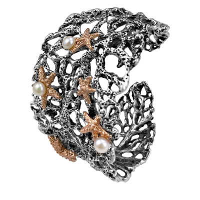 Marina band bracelet with natural pearls