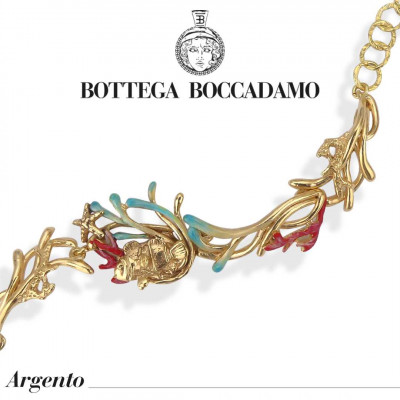 Yellow gold plated bracelet with hand enamelled anemones