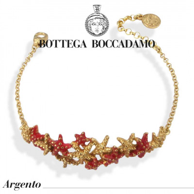 Bracelet with central coral-colored starfish