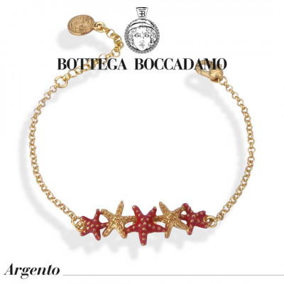 Bracelet with central coral-colored degraded starfish