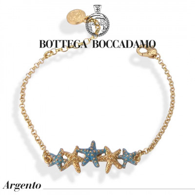 Bracelet with central starfish in light blue degradation