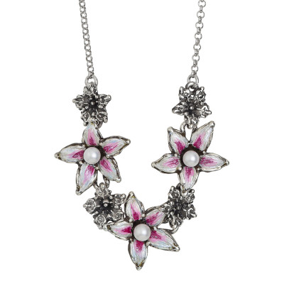 Burnished silver necklace with hand-painted central lily flowers and natural pearls