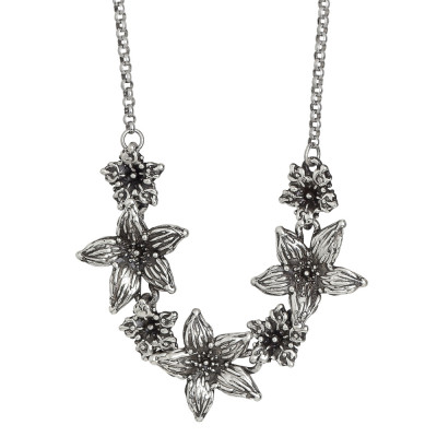 Burnished silver necklace with central lilium flowers