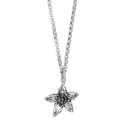 Burnished silver necklace with pendant lilium flower