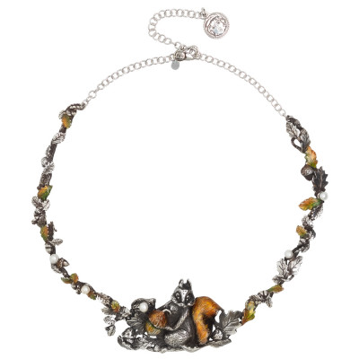 Burnished silver necklace with hand-painted chestnut leaves and squirrel and natural pearls
