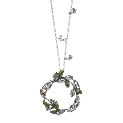 Necklace with butterflies in burnished silver and circular pendant with intertwining hand-painted olive leaves