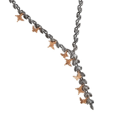 Y necklace in burnished silver composed of olive leaves and rose gold plated butterflies