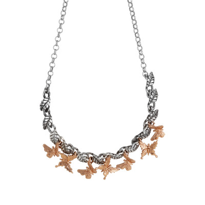 Necklace in burnished silver with central decoration of olive leaves and rose gold-plated butterflies
