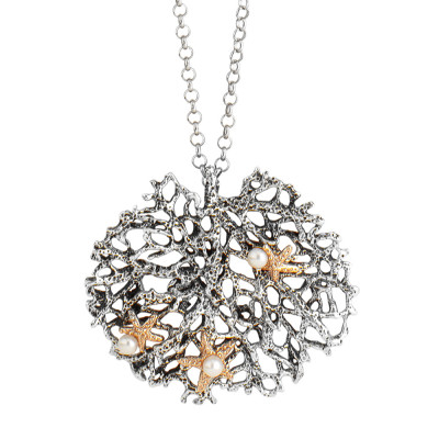 Marina necklace with pendant and natural pearls