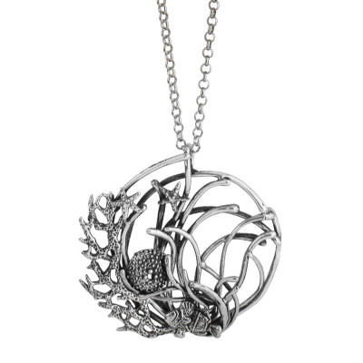 Long Marina necklace with anemone pendant