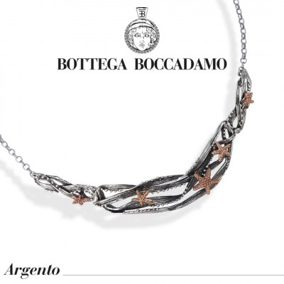 Semi-rigid necklace with rose gold plated starfish