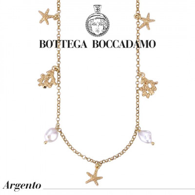 Yellow gold plated necklace with marine charms and scaramazze pearls