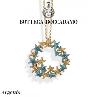 Yellow gold plated necklace with light blue starfish