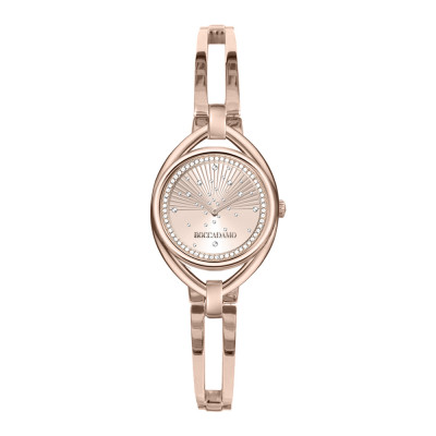 Rose woman time only watch with semi-rigid bracelet and Swarovski