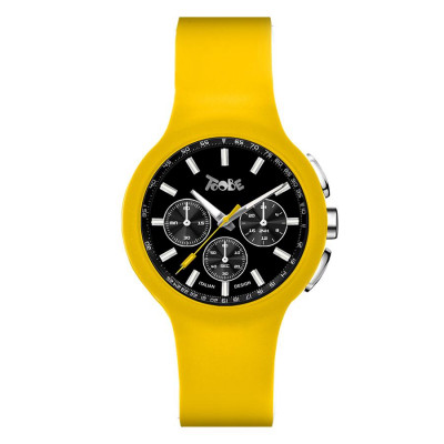 Clock in hypoallergenic silicone yellow and black counters