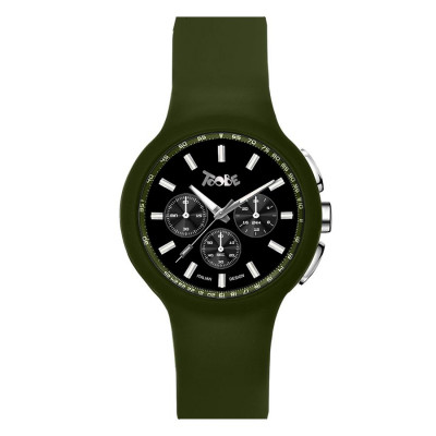 Clock in hypoallergenic silicone military green and black counters