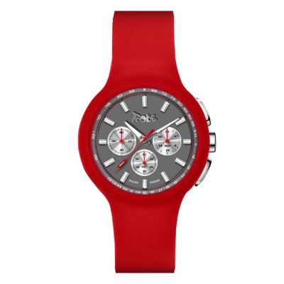 Clock in hypoallergenic silicone red and silver counters
