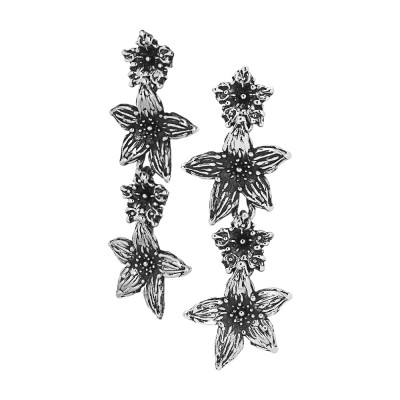 Drop earrings with lilium flowers in burnished silver