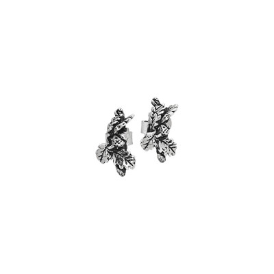Lobe earrings with chestnut leaves in burnished silver