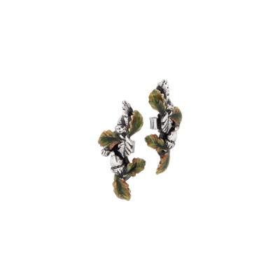 Earrings with chestnut leaves and hand-painted