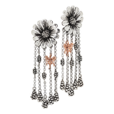 Daisy earrings in burnished silver with tuft of pendants and pink bee