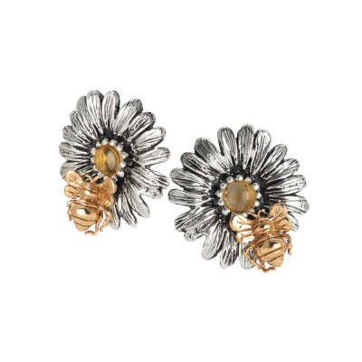 Lobe daisy earrings with citrine stone and yellow gold plated bee