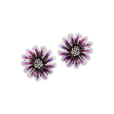 Hand-decorated burnished silver daisy earrings in shades of purple