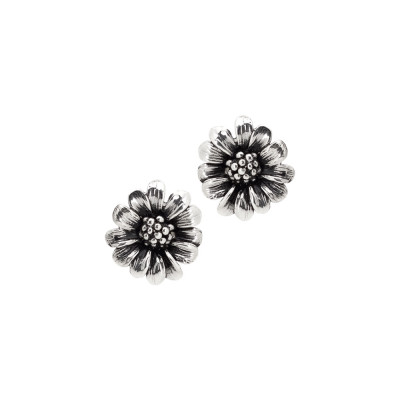 Lobe earrings in burnished silver with daisy