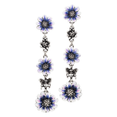 Hanging earrings with daisies painted in blue by hand and in burnished silver