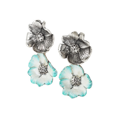Earrings with burnished cherry blossoms and painted sky blue