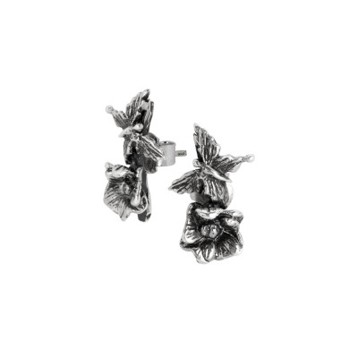 Asymmetric earrings with butterfly and cherry blossom in burnished silver