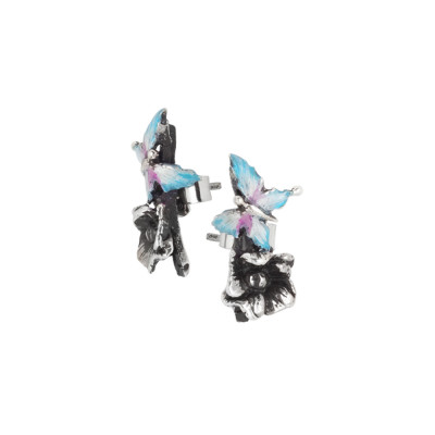 Asymmetric earrings with hand-painted butterfly and cherry blossom
