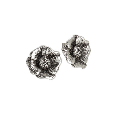 Burnished silver lobe earrings with cherry blossom