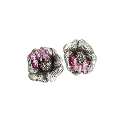 Burnished silver lobe earrings with hand-painted butterfly