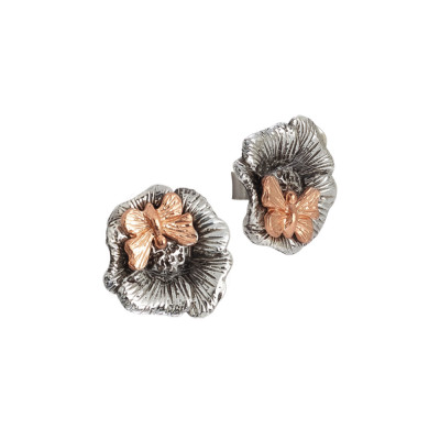 Stud earrings in burnished silver with rose gold plated butterfly
