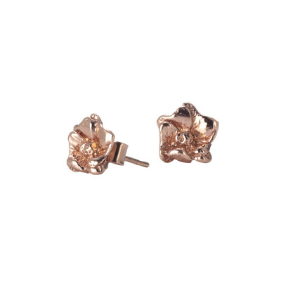 Rose gold plated silver earrings with cherry blossom