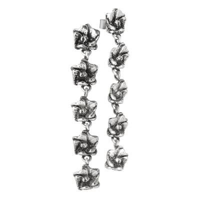 Earrings with five cherry blossoms in burnished silver