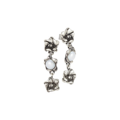 Earrings with three burnished cherry blossoms and natural pearls