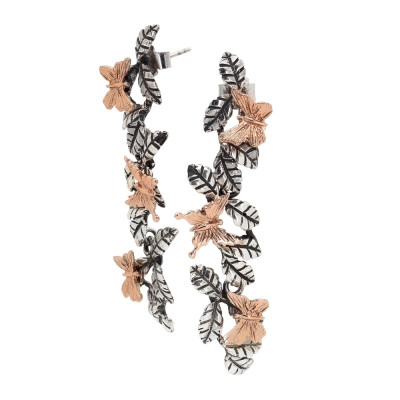 Drop earrings with brown olive leaves and rose gold plated butterflies