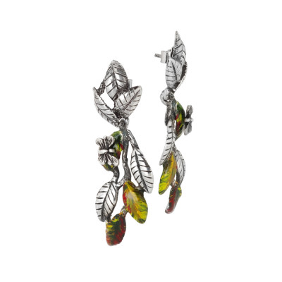 Earrings with intertwining hand-painted olive leaves and burnished butterfly