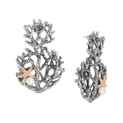 Marina earrings with interweaving of corals and natural pearls