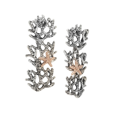 Marina pendant earrings with interweaving of corals