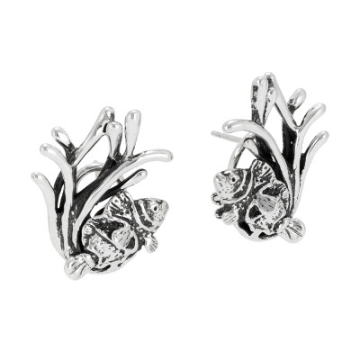 Marina earrings with anemones and clown fish